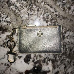 Gold Tory Burch zip key pouch
